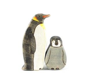 penguin wooden toys, waldorf toys, wooden waldorf, penguin figurine, wooden animals