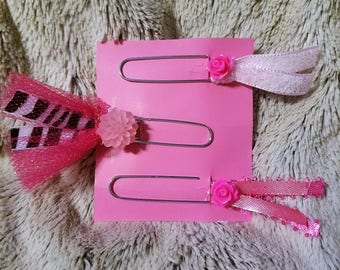 Handmade 3 piece pink ribbon planner/bookmarks