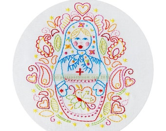 Matryoshka Russian Nesting Doll Embroidery Pattern PDF