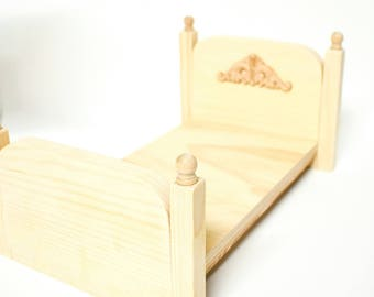 "Unfinished Doll Furniture- Doll Bed  - great for 10-12"" dolls - 1:6 doll bed - Doll Furniture - Doll house furniture - Doll lover gift"