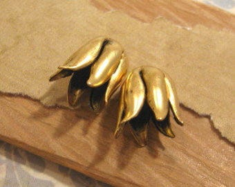 Tulip Bead Caps in Antique Gold by Nunn Design - 2 Count