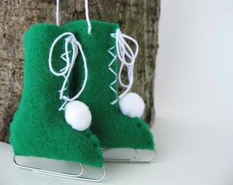 Felt Ice Skates Christmas Ornament Forest Green Vintage Style Christmas Eco-Friendly