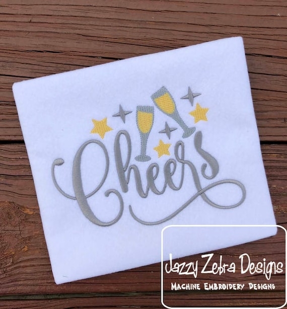 Cheers embroidery design - new years embroidery design - 2018 embroidery design - glasses embroidery design - toasting embroidery design