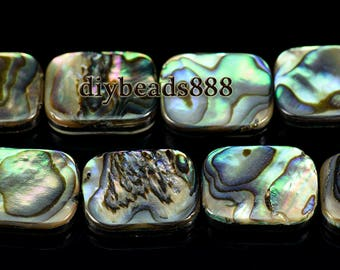 15 inch strand of Abalone shell smooth flat rectangle beads,oblong shape beads 13x18mm