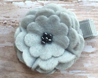 Light Gray Silver Beaded Felt Flower Hair Clip Clippie Babies, Toddlers, Girls