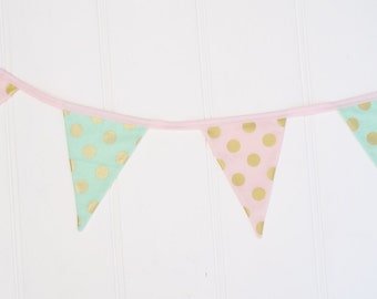 Pink Aqua & Gold Dots Bunting Flags