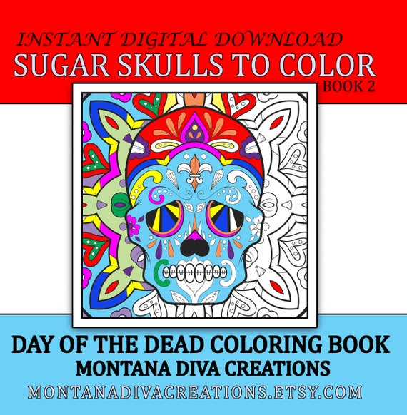 day of the dead sugar skull adult coloring book 20 images to color after immediate digital download coloring pages for halloween book 2 - Adult Coloring Books 2