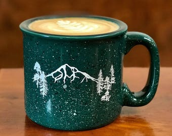 Mt Hood Forest Campfire Mug, coffee mug, tea, hot cocoa