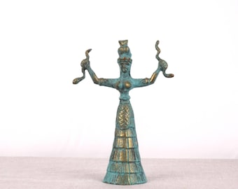 Snake Goddess, Museum Replica, Minoan Statue, Minoan Art, Brass Statue, Greek Sculpture, Minoan Sculpture, Greek Statue, Minoan Decor