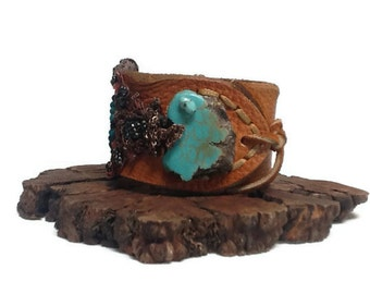 Caramel Leather  Turquoise Cuff