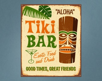 Tiki Bar Repositionable Removable Wall Decal | tiki decor bar sign bar decor wall art wall sticker kitchen wall art tropical decor