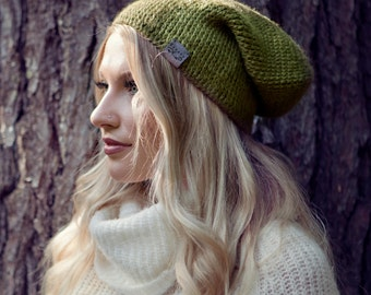 Canada Bliss Fundamental Hat - Crochet Knit Baby Alpaca Beanie - Moss Green OR Choose from Multiple Colours