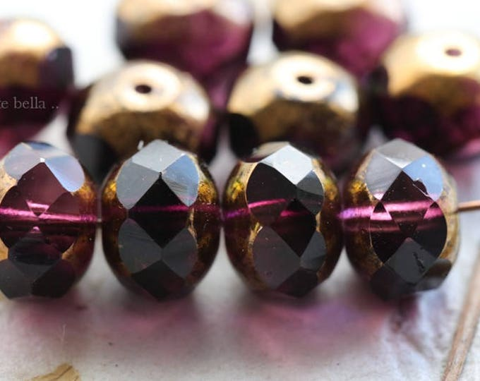 GILDED PLUMS .. 10 Picasso Czech Rondelle Glass Beads 6x8mm (6092-10)