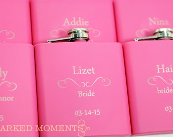 8 Bridesmaid Gifts 8 Pink Engraved Flasks 6oz for bridesmaids, maid of honor, matron of honour Hip Flask SET OF 8 - CLASSIC