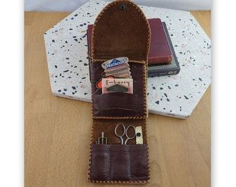 Vintage Leather Sewing Kit, Travel Sewing Set, Purse / Handbag Sewing Scissors, Needle Storage Case