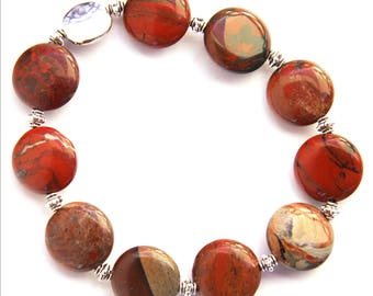 Mothers Day Gift Red Jasper Stone Bracelet Natural Stone Bracelet Earthy Red Sterling Silver High Gloss Polished Semiprecious Jewelry Custom