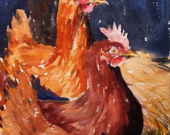 Two Hens Print of original Water color