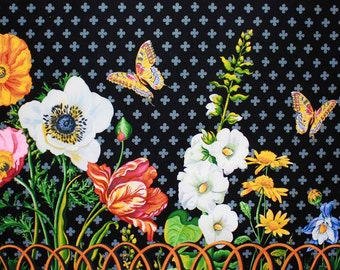 Large floral border fabric, quilting cotton fabric by the yard, designer fabric by Paula Prass for Michael Miller. One yard left