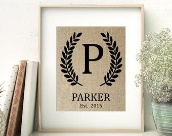 Laurel Monogram Personalized Burlap Print | Family Name Sign | Personalized Wedding Monogram Gift | Wedding Shower Gift | Bride and Groom