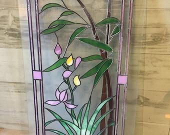 Art Decor Style Hand Painted & Leaded Glass Panel Sun Catcher Door Feature