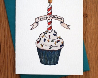 Happy Birthday Cupcake Card with Glitter Accent