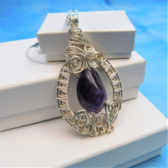February Birthstone Jewelry Amethyst Necklace Artisan Crafted Artistic Handmade Unique Wire Wrapped Pendant Birthday Gift Ideas for Women