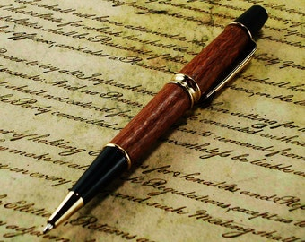 Leopardwood Pen - Patrizio Style with Gold Finish