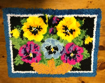 Bowl of Pansies Latchhook  latch hook Rug Completed 26 x 20