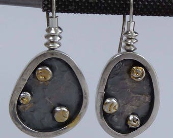 Silver freeform darkened earrings artisan boho hallmarked