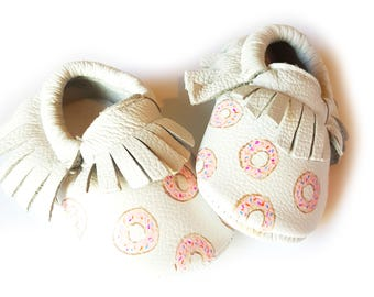 donut painted Baby Moccasins, donut print leather moccasins, donut baby moccasins, donut moccs, painted baby shoes, food moccs