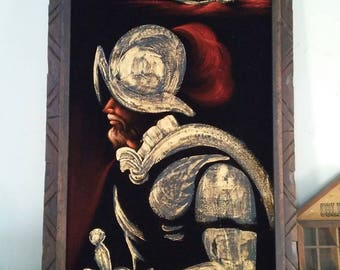 Vintage Oil on velvet Spanish Conquistador Mexican painting