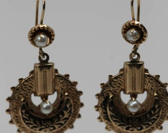 14K Yellow Gold Neo Victorian Pearl and Black Channel Ear Pendants