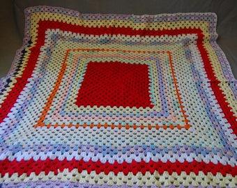Happy Scrappy granny square blanket ~