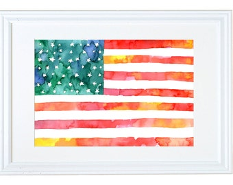 American Flag Wall Art, Patriotic Decor, Watercolor Art Print, Stars, Meera Lee Patel