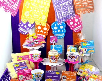 Day of the Dead Party Set, Halloween Birthday party, Sugar Skull Party, Sugar Skull Decorations | Printable | PERSONALIZED