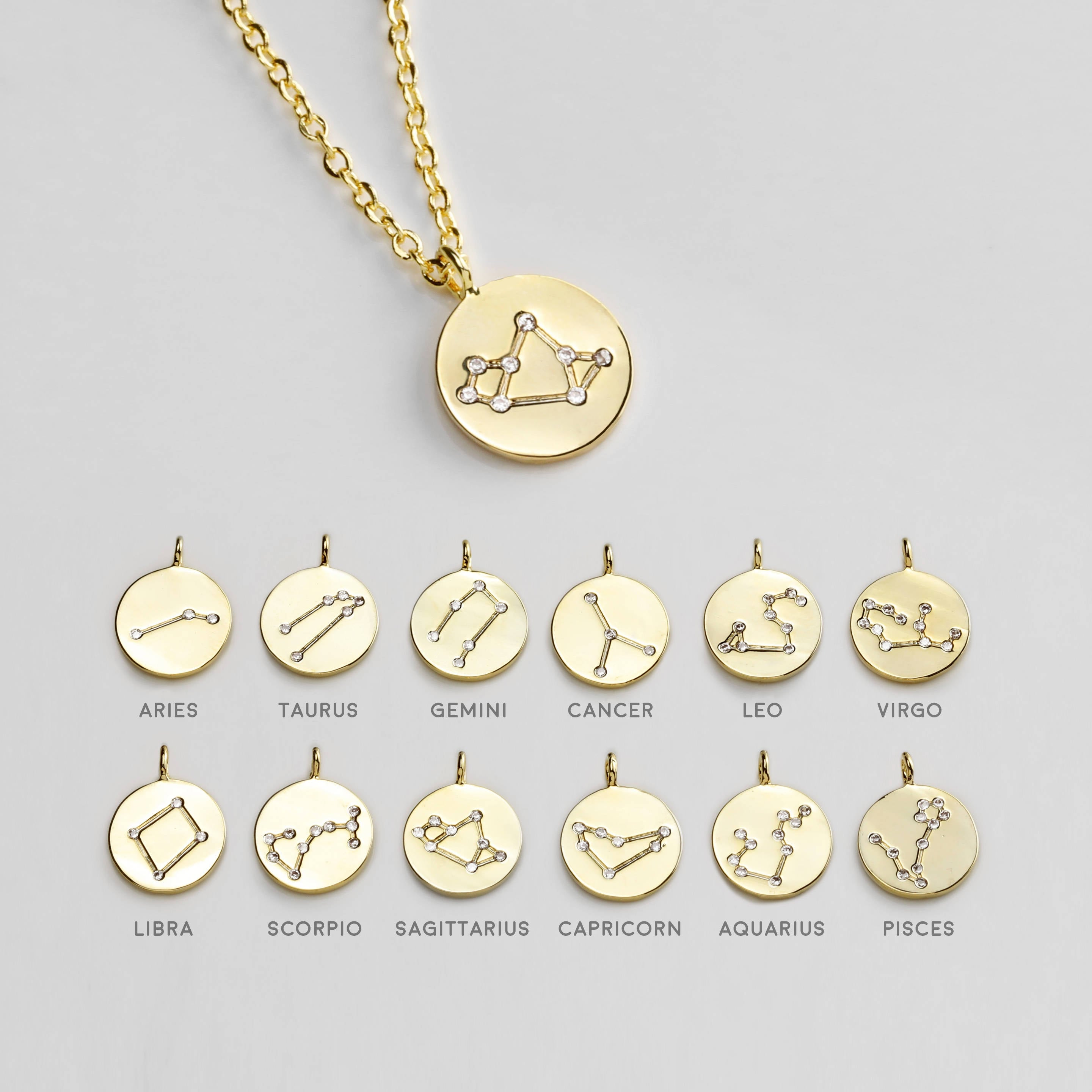 gold astrological virgo necklace cam chain products ascending gunnarhaus plated jewelry medallion zodiac