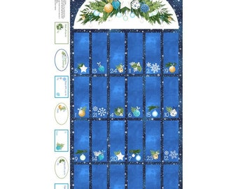 O Christmas Tree~Advent Calendar/Navy Panel 23in x 44in Cotton Fabric By Northcott