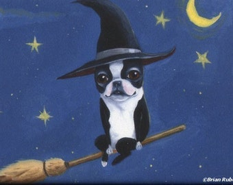 Boston Terrier gift, Boston terrier bt witch on a broom dog art magnet, Halloween magnet, Halloween boston terrier