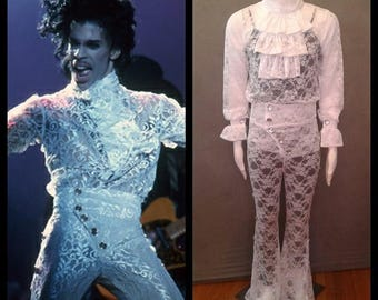 MADE TO ORDER Prince 'When Doves Cry' Inspired All White Lace Costume for Men