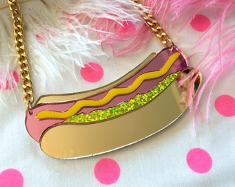 Hot Dog Laser Cut Acrylic Food Necklace, Laser Cut Acrylic, Plastic Jewelry