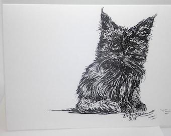 Black Kitten: Brush Pen Drawing