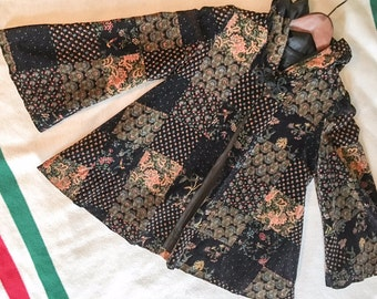 Velvet Hooded Swing Coat with Flared Sleeves