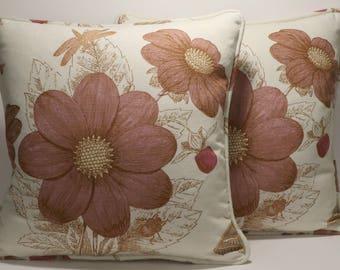 "2 Floral Throw Pillows,Dragonfly Pillows,Decorative Pillows,Livingroom,2 18"" Botany Lavender by Thomas Paul Designer Throw Pillows & Forms"