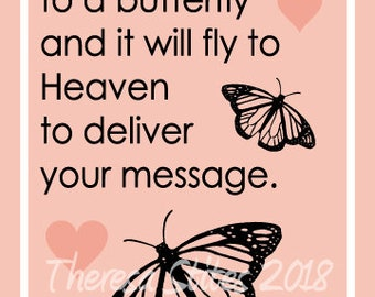 Whisper I love you to a butterfly and it will fly to heaven saying 5x7 inch frameable art message printable instant download