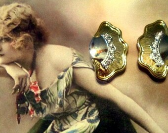 Vintage Half Moon Style Gold and Rhinestone Clip Earrings - Vintage Gold Earrings - Clip Earrings - Vintage Rhinestone Earrings - V-EAR-121