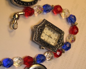 Red White & Blue Interchangeable Beaded Band/ Med. ID Bracelet..(4179)  with Quartz Watch Included...
