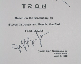 Tron Signed Movie Film Screenplay Script Autographs Jeff Bridges Barnard Hughes Bruce Boxleitner signatures classic films
