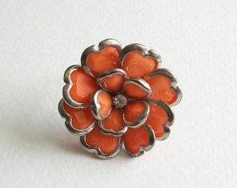 ON SALE Vintage Adjustable Flower Ring Beautiful Orange Rhinestone Sparkling 3D Multi Faceted Rhinestone Ring Size 7 Ring