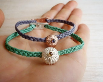 Small & Medium Sterling Silver Sea Urchin Bracelets with  Iolite and Citrine