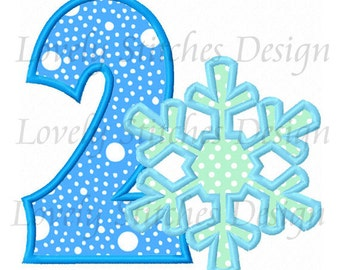 Snowflake Number 2 Applique Machine Embroidery Design NO:0478